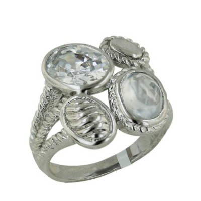 Brass Ring 2 Clear Cubic Zirconia Cabohcon Grainy+Faceted Beze - 7