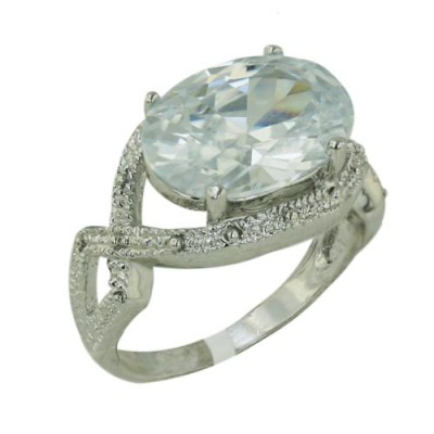 Brass Ring 14X10Mm Oval Clear Cz With Criss Cross