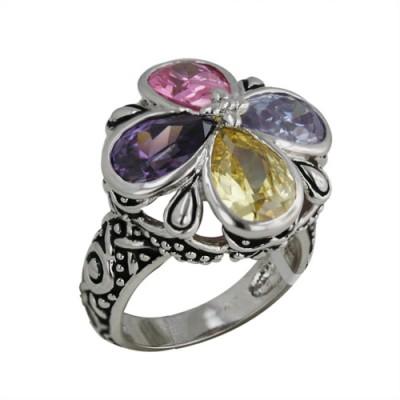 Brass Ring Flower T-Drop Pink, Lavender, Am, Ct Cz