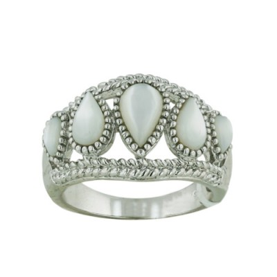 Brass Ring Band 5 Tear Drop White Mother of Pearl - 8