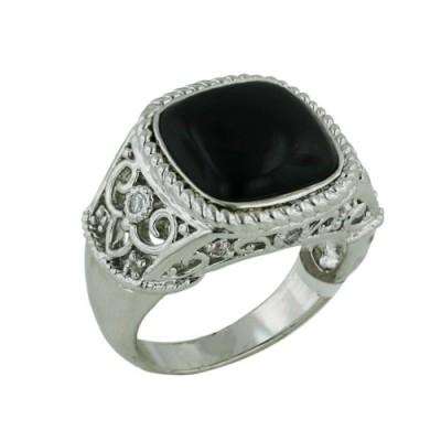 Brass Ring Filigree Classic Ring Black Onyx - 8