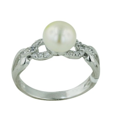 Brass Ring 8.5 Potato Fresh Water Pearl with Clear Cubic Zirconia - 8