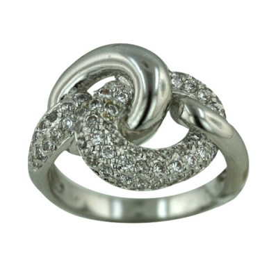 Brass Ring Plain Silver+Clear Cubic Zirconia Link - 8