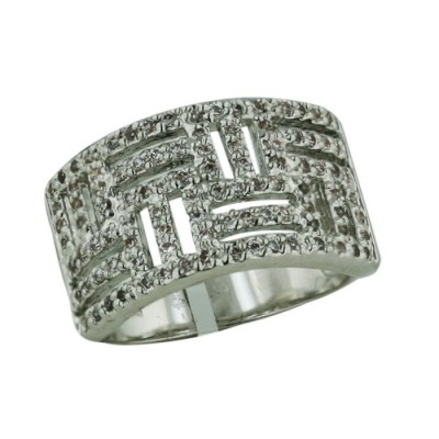 Brass Ring Clear Cubic Zirconia on Open Weave Pattern - 8