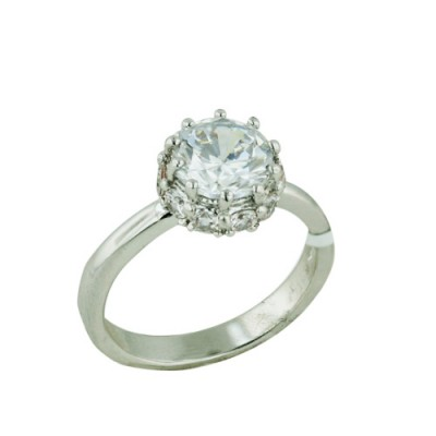 Brass Ring 8mm Clear Cubic Zirconia with 2.5mm Clear Cubic Zirconia on Sides - 8