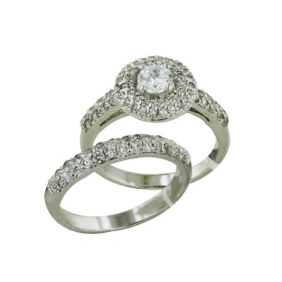 Brass Ring 2Pc Set 5mm Clear Cubic Zirconia on Paved Donut - 8