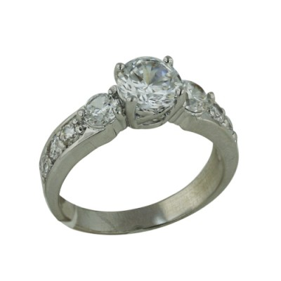 Brass Ring 7mm Clear Cubic Zirconia 4mm on Side 3mm on Band - 8