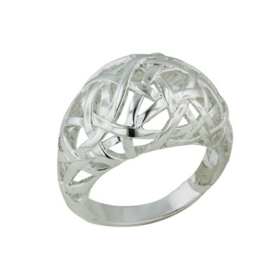 Brass Ring Puffy Lines Intertwine - 8