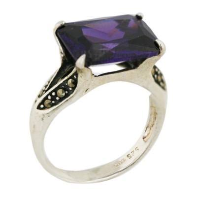 Marcasite Ring Rectangular Amethyst Cubic Zirconia 10X14