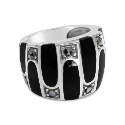 Marcasite RING WHITE Mother of Pearl AND BLACK ONYX UP & DOWN