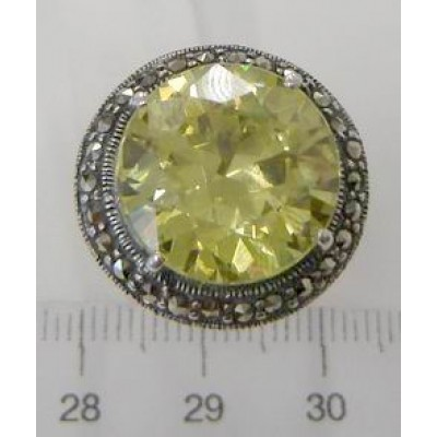 Marcasite Ring 15mm Round Light Olivine Cubic Zirconia