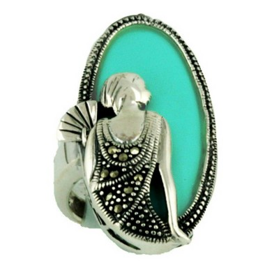 Marcasite Ring 35X18mm Faux Turquoise Oval with Lady Portrait