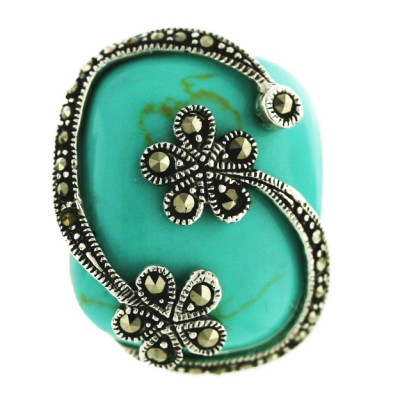 Marcasite Ring Cabochon Faux Turquoise with 2 Marcasite Flower Top - 6