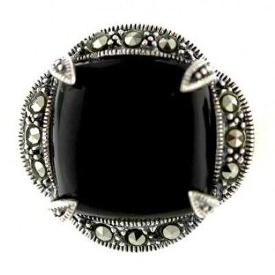 Marcasite Ring 19X19mm Cabochon Onyx Rhombus with Oxidized R