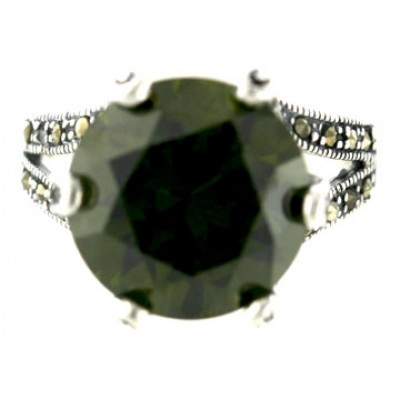 Marcasite Ring 14mm Round Olivine Cubic Zirconia with 6 Prongs
