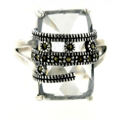 Marcasite Ring 20X12mm Chess Cut Rectangular Clear Cubic Zirconia with Marcasite Bezel