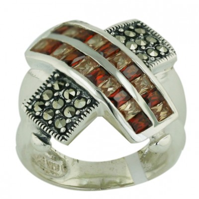 Marcasite Ring Double Row Garnet /Champagne Cubic Zirconia Channel Set+Marcasite X