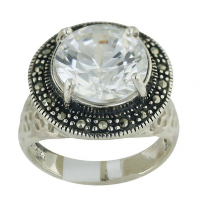 Marcasite Ring 13mm Clear Cubic Zirconia Round with 4 Prongs Oxidized Rope - 8