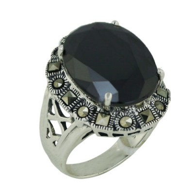 Marcasite Ring 24X19mm Black Cubic Zirconia Oval with Square Cut Marcasite Around - 8