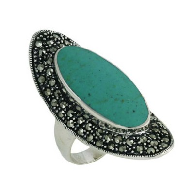Marcasite Ring 11.5X27mm Turquoise Oval Center Marcasite Surro