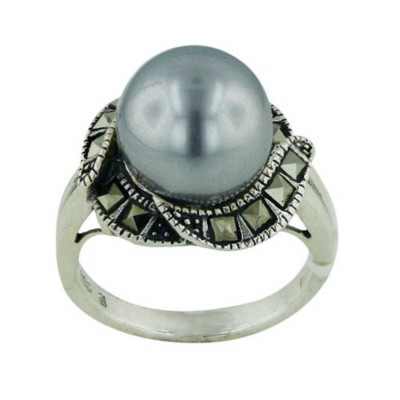 Marcasite Ring 12mm Black Pearl Center Square Marcasite S