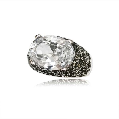 MS Ring Oval Clear Cz W/ Ms Filigree Side