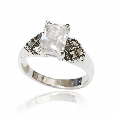 Marcasite Ring 8X6mm Rectangular Clear Cubic Zirconia with Square Marcasite at Side