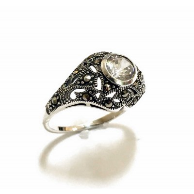 Marcasite Ring Dome Round Clear Cubic Zirconia Marcasite Cutout