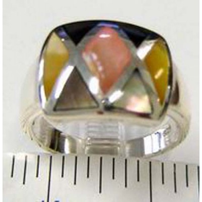 Sterling Silver Ring Band Checker Mother of Pearl (Pink+Gray+Yellow)