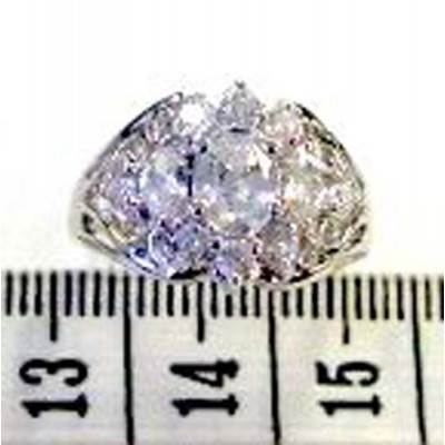 Sterling Silver Ring 1 Oval 2 Mrqs Filigree Clear Cubic Zirconia