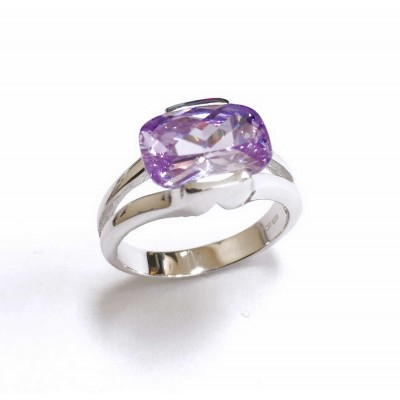 Sterling Silver Ring Pillow Checkerboard Lavender Cubic Zirconia 4 Prong