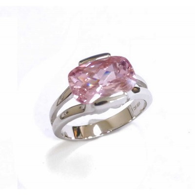 Sterling Silver Ring Pillow Checkerboard Pink Cubic Zirconia 4 Prong