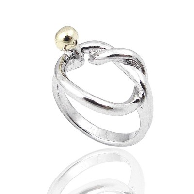 STERLING SILVER RING TWO TONED HOLLOW KNOT