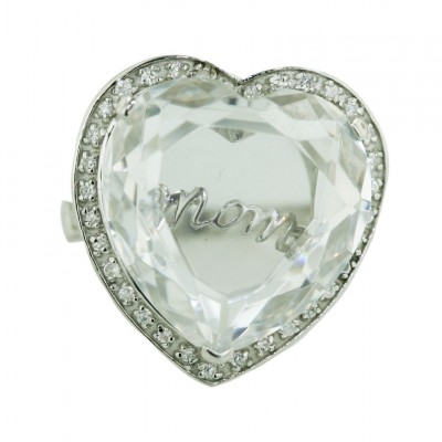 Sterling Silver Ring W=21.5mm Clear Cubic Zirconia Heart Facetted Cut with Word ""