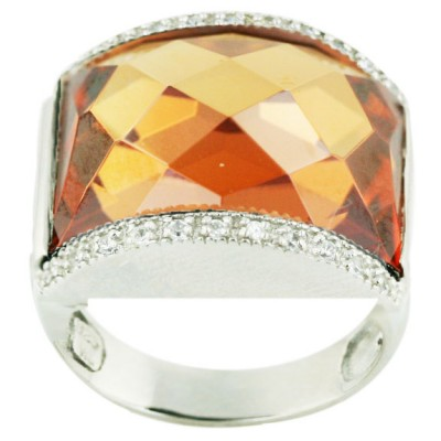 Sterling Silver Ring 18X22mm Champagne Cubic Zirconia Chess Cut with Clear Cubic Zirconia Top+Bottom - 8