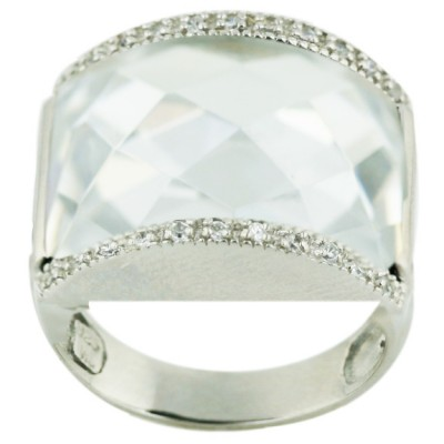 Sterling Silver Ring 18X22mmcl Cubic Zirconia Chess Cut with Clear Cubic Zirconia Top+Bottom - 8