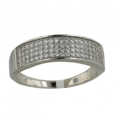 Sterling Silver Ring Micropave Clear Cubic Zirconia Band - 7