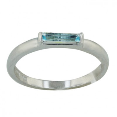 Sterling Silver Ring 8X2mm Blue Topaz Glass Baguette Princess C - 8