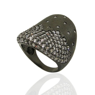 Sterling Silver Ring 27mm Width Black Rhodium Plating Plating Concave Pave