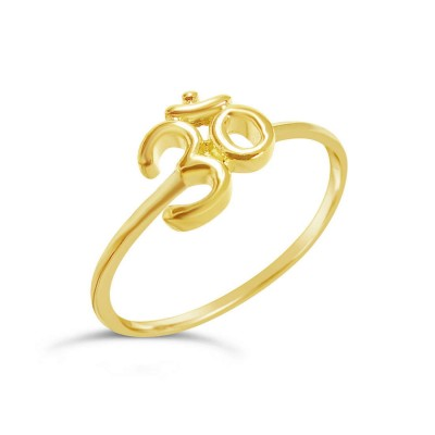 Sterling Silver Ring Plain Ohm Symbol-Gold Plate