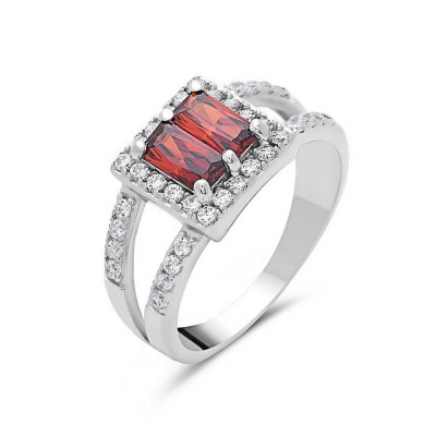 Sterling Silver Ring 2 Garnet Cubic Zirconia Baguette Square Shape Clear C Cl