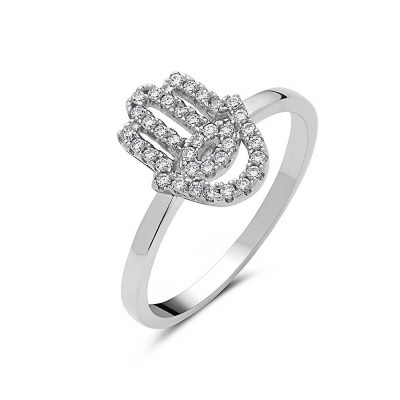 Sterling Silver Ring Pave Clear Cubic Zirconia Hamsa