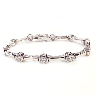 Sterling Silver Bracelet Plain Lines Connecting 5mm Clear Cubic Zirconia