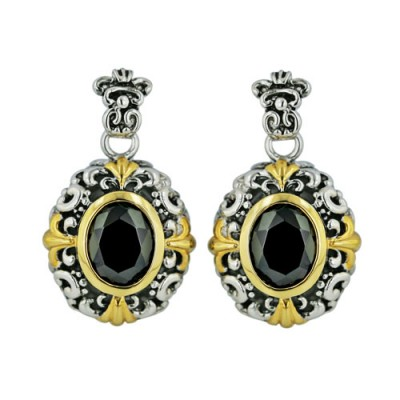 Brass Earg Gold Plate Black Cz Oval Filigree, Multicolor
