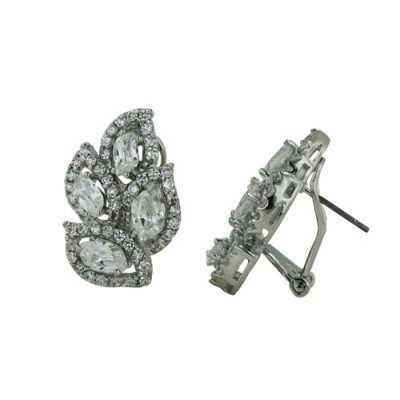 Brass Earg 4 Wavy Clear Cz Crystal, Clear