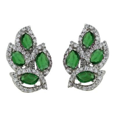 Brass Earg 4 Leaf Syn. Emerald+Clear Cz Crystal, Clear