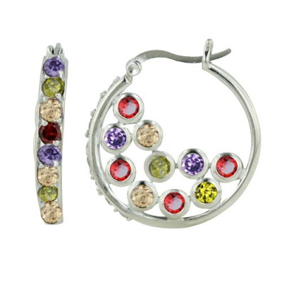 Brass Hoop Earring With Mutlicolor Cz Within The H