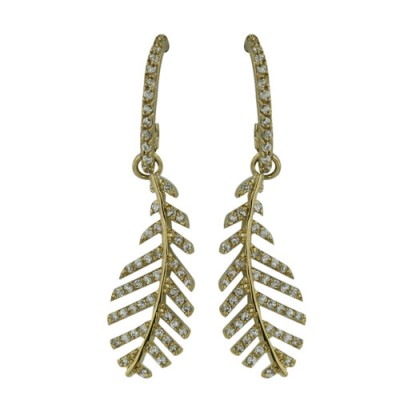 Brass Earring Leaf W/ Gold Color Plating Clear Cz, Multicolor