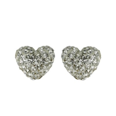 Brass Earring 8.8Mm/9.8Mm Puffy Heart Clear Crysta, Clear