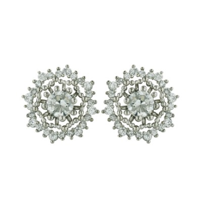 Brass Earring Round Filigree Center Clear Cz, Clear